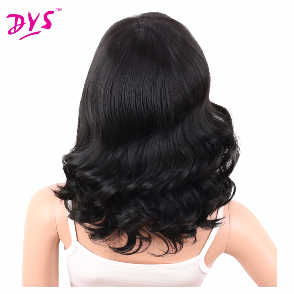 Deyngs Big Curly Synthetic Wigs with Bangs Japanese Kanekalon Fiber Heat Resistant Full Wigs for Women Girls Lady Natural Black (6)