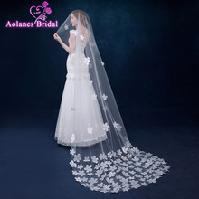 2017 White Wedding veils 1 layer lace 3 meters long Bridal Veil wedding periphery flower veil wedding veil Wedding Accessories(China)