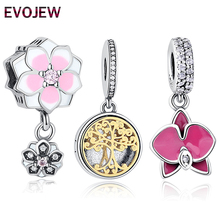 100% 925 Sterling Silver Radiant Orchid Snowflake MOM Daisy Charm Fit Original Pandora Bracelet CZ Dangle Jewelry Accessories(China)