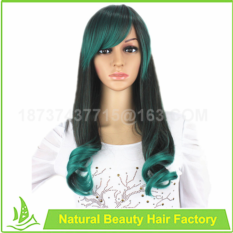 Cheap synthetic dark green mixed black ombre muti colored cosplay wig 24 100%  kanekalon red yellow blue Long Wavy women wigs<br><br>Aliexpress