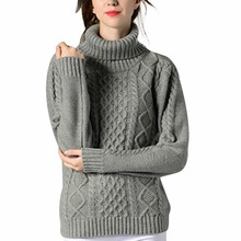 Casual women autumn winter warm thick twist solid knitted sweaters slim high neck knitwear sweater femme long sleeve jumper coat