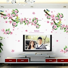 Sweet romance The plum blossom bedroom TV setting sofa Peach blossom stickers Can remove waterproof stickers
