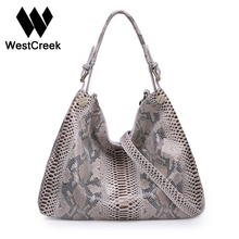 Westcreek Brand Women Genuine Leather Handbags Female Classic Serpentine Prints Pattern Tote Bags Ladies Snake Messenger Bag