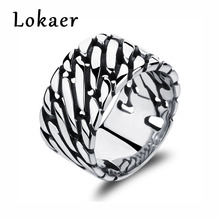 Lokaer Punk Style Stainless Steel Men Ring Retro Domineering Personality Large Wide Wide Board Thumb Ring Jewelry