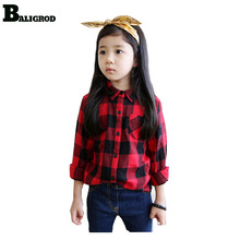 2017 Fashion Boys Shirts Childrens Baby Girl Clothing GirlsTops Blouses 100% Cotton Classic Red Plaid Boys Kids Shirts(China)