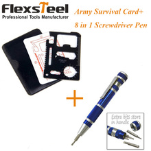 Pocket 2PCS Camping Tool Stainless Steel Survival Army Credit Card + 8 in 1 Portable Slotted Philips Torx Hex Screwdriver Kit