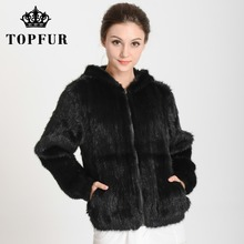 2017 New Arrival Knitted Mink Fur Coat Hood with Zipper Top Sell Genuine Fur Jacket Fashion Free shipping THP282