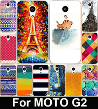 Colorful Stripes And Eiffel Tower Hard PC &Soft TPU Painting Cell Phone Case Cover For Motorola Moto G2 G+1 XT1063 XT1068 XT1069