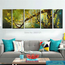 Handpainted large combination pictures Wall Art Oil Painting On Canvas green tree landscape Artwork Decoration home sets 5 panel