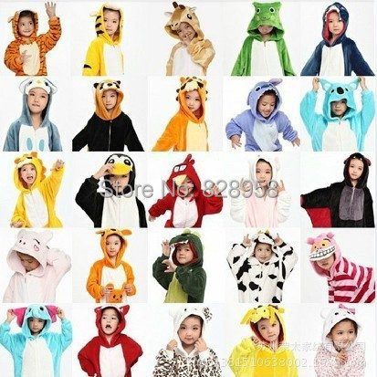20 Style 2-11Y Girls Boys Winter Children Flannel Animal pajamas Kid Clothes Cute pyjamas Hooded Romper Sleepwear Without Shoes<br><br>Aliexpress