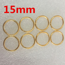 50pcs 15mm Gold O Rings of leather Accessory Cast High Quality Carft Strap Round DIY(China)