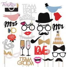 FENGRISE Fun Wedding Decoration 31pcs Photo Booth Prop DIY Mr Mrs Mustache Mask Party Accessories Bridal Shower Event Supplies