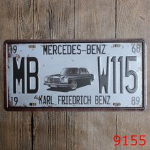"Direct selling LOSICOE Vintage license plate ""MB W115"" Wall art craft metal painting vintage Iron for bar home decor 15X30 CM(China)"