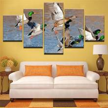 Modular Canvas Hd Prints Wall Art Pictures Framework 5 Pieces Mallard Ducks Rising From Water Painting Living Room Decor Poster(China)