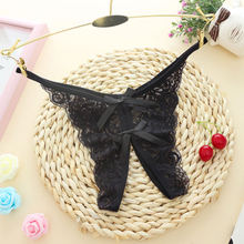 Buy Sexy Crotchless Panties Female Erotic Lingerie Sexy Lace Bow Thongs Open Crotch Transparent Panties Bragas Women's Underwear
