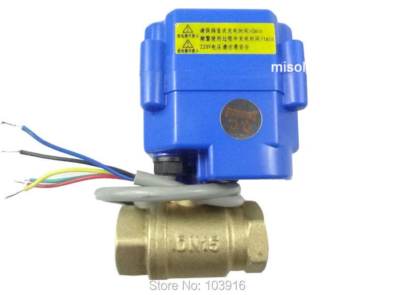 Motorized valve brass, G1/2 DN15, 2 way, CR05, electrical valve, motorized ball valve<br><br>Aliexpress