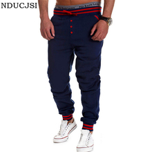 2016 Trousers Man Pantalones Men Pants Sportswear Brand Sweatpants Front Button Loose Drop Crotch Pants Drawstring Out Door B008