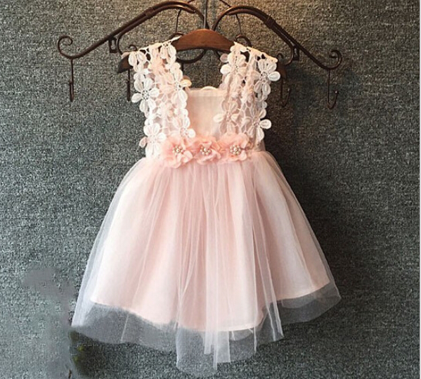 2016 Summer Baby Girls Lace Hollow Out Floral Sashes Dresses, Princess Fashion Party Wear Pink Blue White 5 pcs/lot, Wholesale<br><br>Aliexpress