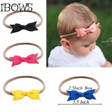 1Pc Cute Newborn Kids Nylon Headband With Great Elasticity Head Band Head Wrap Girl Hair Bow Hair Accessory