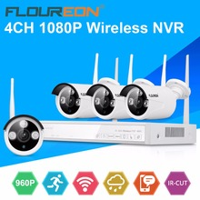 Floureon wireless cctv camera kit home security cctv security recording system kit 960P IP camera surveillance kit for home