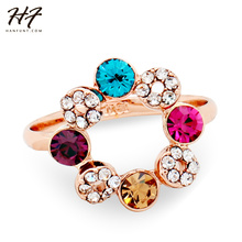 Top Quality Ferris Wheel Crystal Ring Rose Gold Color Austrian Crystals Full Sizes Wholesale R337(China)