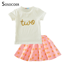 SOSOCOER Girl Clothing Sets Summer 2017 Two T Shirt+Polka Dot Skirts 2pcs Baby Clothes Kawaii Pink Green Kids Girls Clothing Set