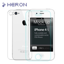 2 pcs/lot 0.3mm One Front one Back Tempered Glass for iPhone 4 4s 2.5D Arc Edge Screen Protector with Clean Tools