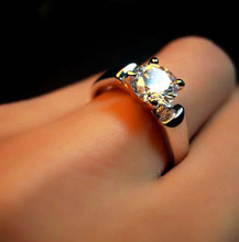 Engagement Wedding Rings Crystal Silver/Rose Gold color Fashion Brand Rhinestone Ring Wedding Jewelry For Women Wholesale