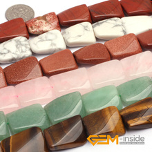 15x20mm Twist Rectangle Natural Stone Beads: Quartzs,Aventurine,Howlite,Tiger Eye,Red Jaspe For Jewelry Making Beads Strand 15""