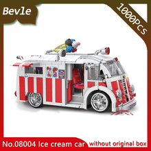 LEPIN 08004 1068Pcs City Series Red Ice cream car Assembly Model Building Blocks set Bricks Toys For Children Gift xingbao