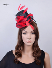 2017 NEW 6 colour Red black Sinamay Fascinator Mini Hat  for Kentucky Derby,Ascot Races,Melbourne,Wedding,Party.