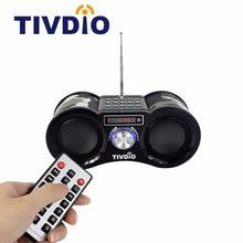 Tivdio V-113 Stereo FM Radio Camouflage USB/TF Card Speaker MP3 Music Player with Remote Control Radio portable receiver F9203M(China)