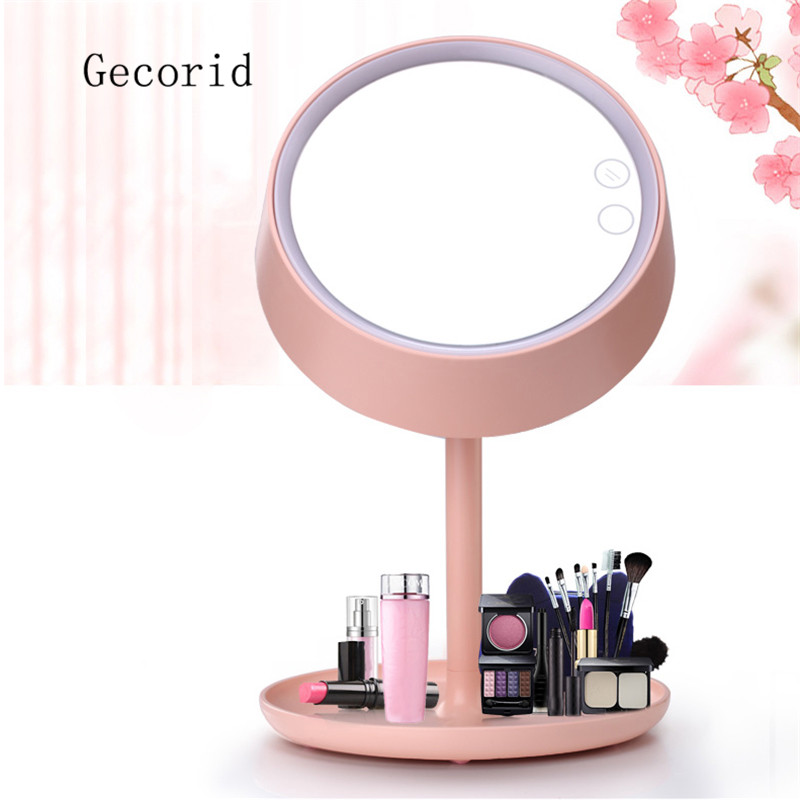 1Pcs LED Compact Mirror with Lights Vanity Table Lamp Make Up Gifts Storage Base Stand Round Cute Mirrors Pink White <br>