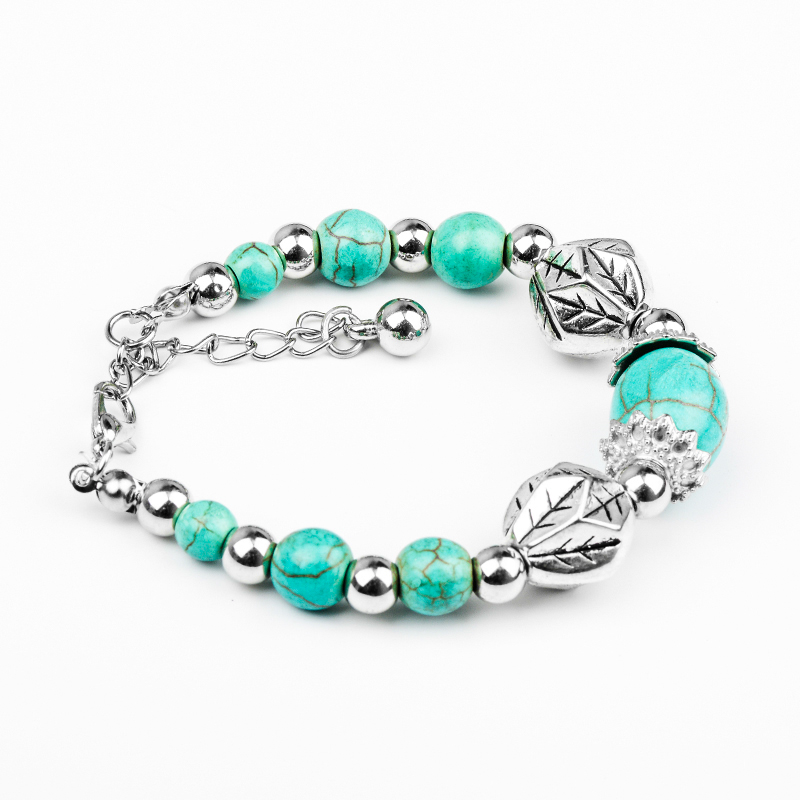 H:HYDE Adjustable Nice Vintage Excellent Natural Blue Stone Bracelet Beads Chain Bracelet Women Christmas Gift Hot