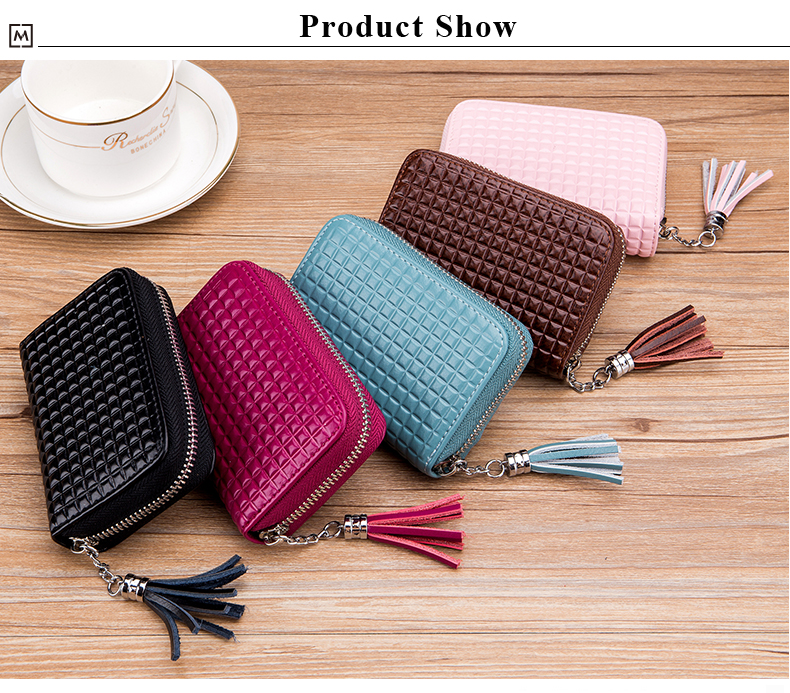 Lomelobo Lady Split Leather Card Wallet Holder Girl Zipper Coin Purse Women Cowhide Large capacity Card Case Housekeeper HCL7126 Details (09)