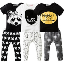 2Pcs Newborn Baby Boys Clothes Set Short Sleeve T-shirt + Long Pants Cotton Sport Clothing Suit Cartoon Toddler Boys Clothing