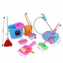 Free shipping 9pcs/set Cute Doll Furniture for Kids Play House 1/6 Doll Accessories Mini Vacuum Cleaner Mop Broom Tools for Baby