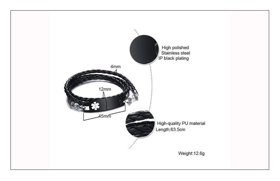 Meaeguet Black Pu Leather Medical Alert ID Bracelet Free & Laser Personalized Stainless Steel Charm Bracelet & Bangle (6)