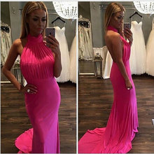 Fashionable High Halter Pink Long Mermaid Prom Dresses 2017 Sexy Open Back Prom Gowns Sweep Train Vestido De Festa with Pleats