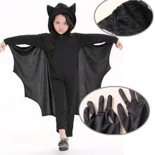 2017 New Cute Bat Costume Kids Girl boy Black Zipper Jumpsuit Connect Wings Batman Child Animal Cosplay