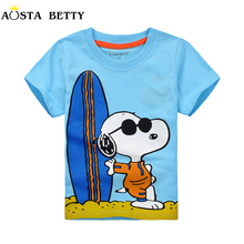 Short Sleeve T shirt For 1-6 Years Blue Color Cartoon Pattern Fashion Children Tees Kid Thin Short-sleeve Summer Boy Tshirts