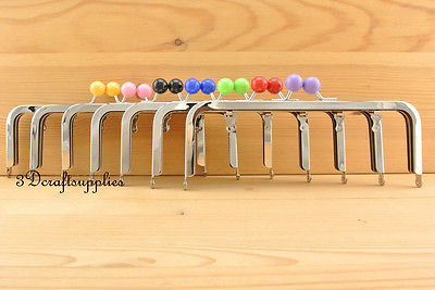 metal purse frame glue on clasp clip set of 7 colors silver 8 inch X 3 inch Z77<br>