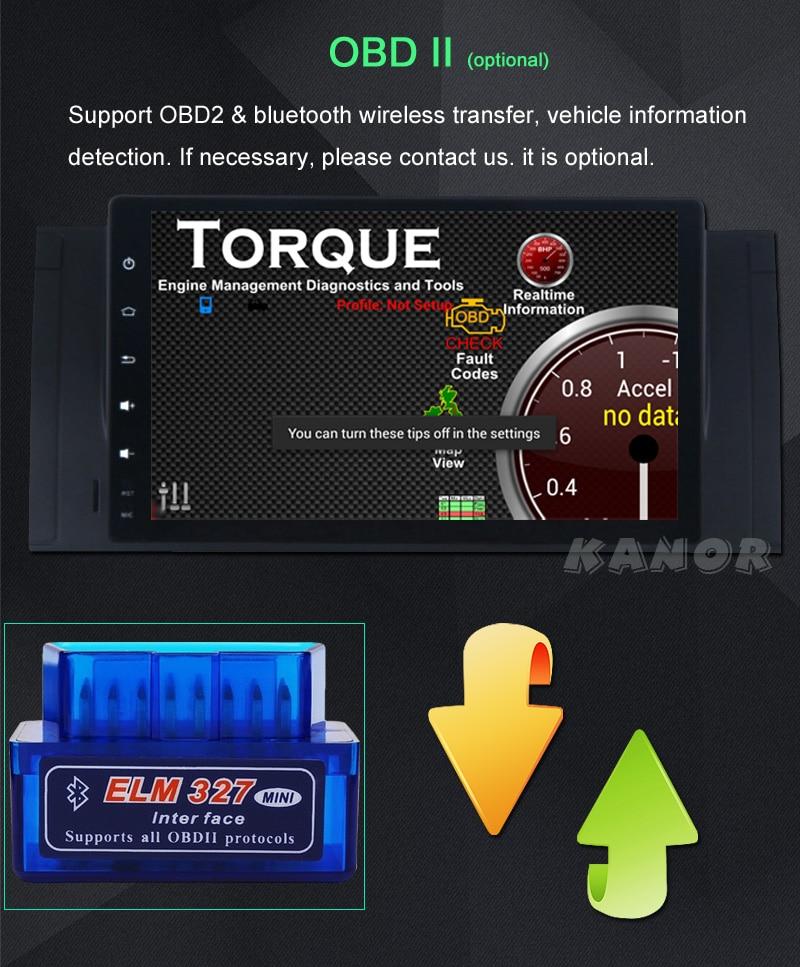 KANOR 1024*600 Android 6.0 9 inch car gps For BMW E39 X5 E53 Car PC WIFI Autoradio Multimedia Audio Stereo