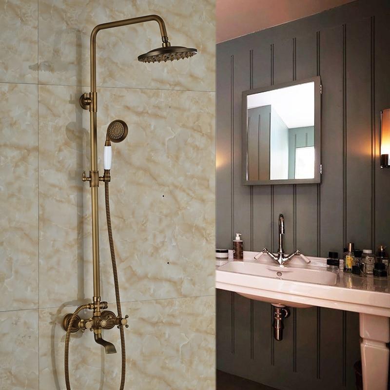Antique Brass Dual Handles Waterfall Bath Shower Mixer Faucet Wall Mount Shower Tap 8 Rain Showerhead<br><br>Aliexpress