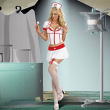 2017  Summers Womens Naughty Nurse Outfit White Red Sexy Fancy Dress Costume halloween costume