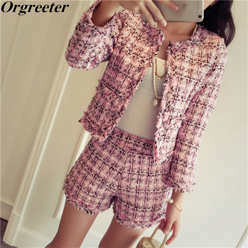 Pink Tweed Shorts 2 Piece Set Women 2018 Newest Autumn Winter White Slim Plaid Fringed Trim Jacket Coat Cardigan and Shorts Sets
