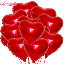 Amawill 20pcs Red Heart Shaped Balloon Wedding Decoration Mariage 10inch Love Foil Balloons Happy Birthday Valentines Day 6D(China)