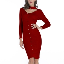 2017 Long Sleeve Halter Autumn Winter Retro Dress Bodycon Elegant Rivet Pencil Wrap Dress Female Work Wear Office Knitted Dress(China)