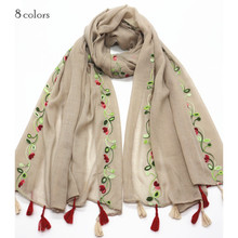 Women tassels muslim hijab embroider flower scarves solid flowers scarf and shawl big pashmina luxury design wraps hot sale