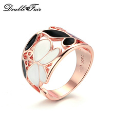 Double Fair Brand Hollow Leaf & Butterfly Black & White Drip oil Ring Rose Gold Color Vintage Fashion Jewelry For Women DFR675